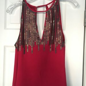 Parker Silk Tank Top with Sequins- US S
